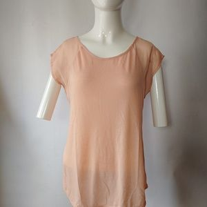 AEO Short Sleeve/Sheer Back Top Size Small
